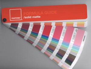 A sample of the Pantone Solid-Matte Color Guide.