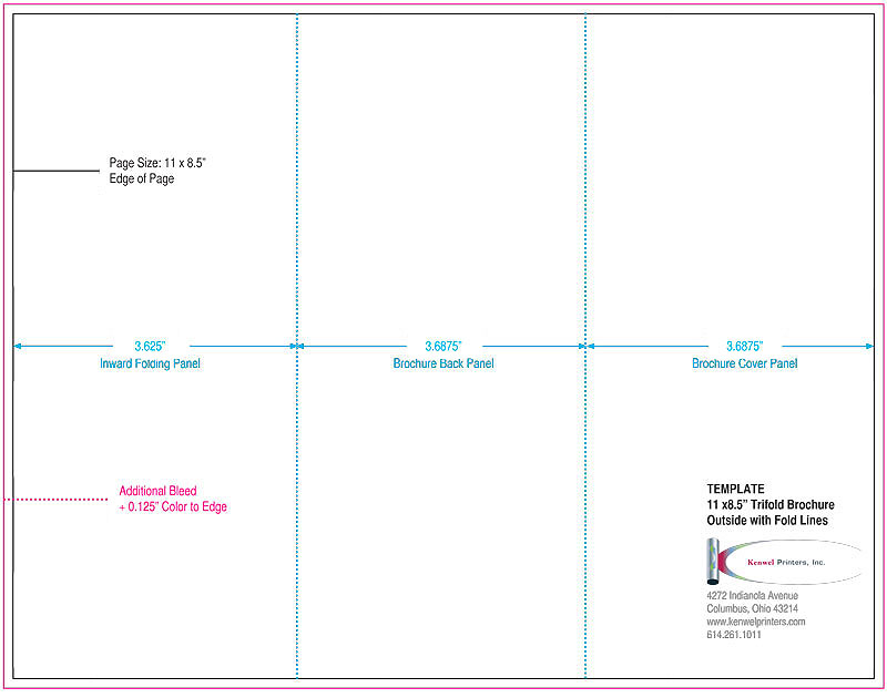 Trifold brochures kenwel printers inc for 8 5 x 11 brochure template indesign